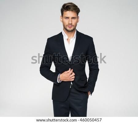 Portrait Handsome Man Black Suit Stock Photo 460050457
