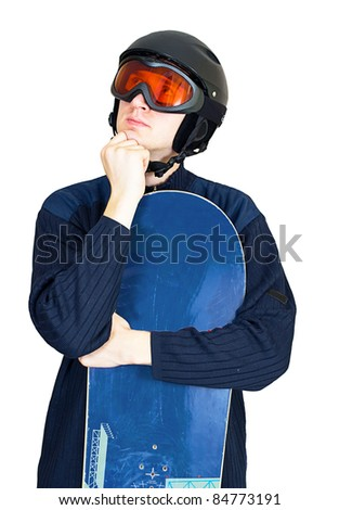 Portrait of handsome man in sportswear with snowboard isolated on a white background - stock photo