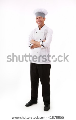 Portrait of handsome man in uniform isolated over white background - stock photo
