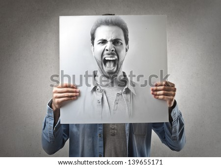 portrait of handsome man screaming - stock photo