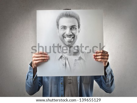 portrait of handsome man smiling - stock photo