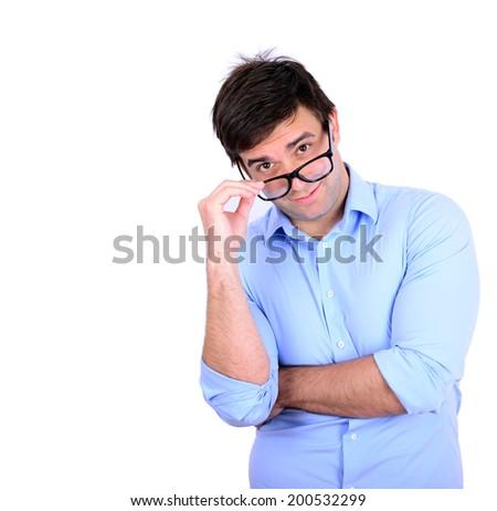 Portrait of handsome man wearing fashion eyeglasses isolated on white background - stock photo