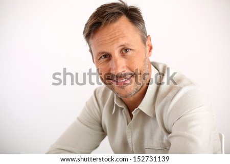 Portrait of handsome man, white background - stock photo