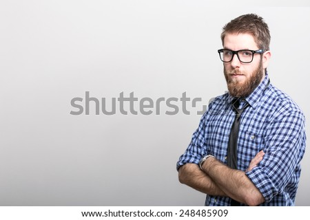 Portrait of handsome man with beard.