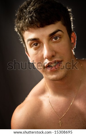 Portrait of handsome man with full nice lips - stock photo