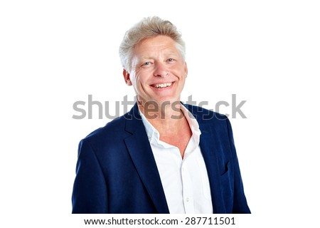Portrait of handsome mature man wearing jacket looking at camera smiling against white background