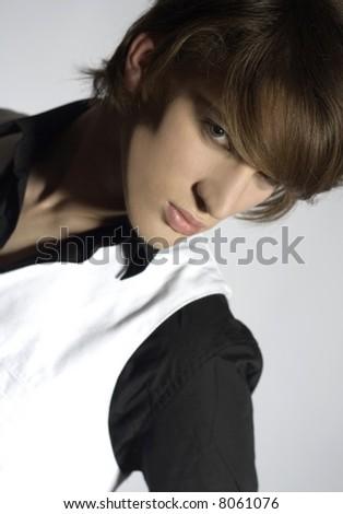 Portrait of handsome model - stock photo