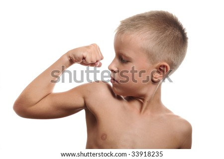 Portrait of handsome muscular young man flexing biceps, isolated - stock photo