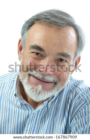 Portrait of handsome senior man looking at the camera on white background