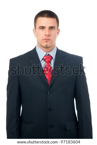 Portrait of handsome serious looking businessman isolated on white. - stock photo