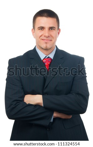 Portrait of handsome smiling businessman isolated on white.