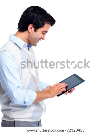 Portrait of handsome smiling man with tablet computer. Isolated over white background. - stock photo