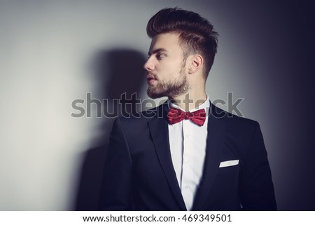 Businessman Suit Red Handkerchief Bow Tie Stock Photo 144859747 ...