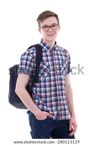portrait of handsome teenage boy with backpack isolated on white background - stock photo