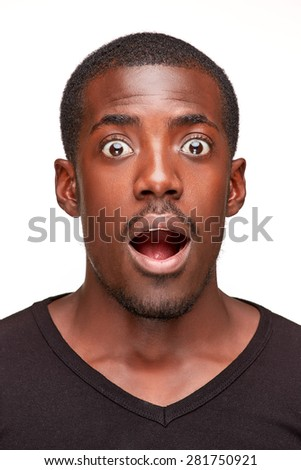 portrait of handsome young black african smiling man,  isolated on white background. human emotions - surprise. face close up - stock photo