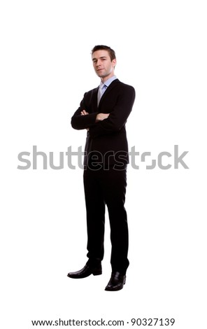 Portrait of handsome young business man against white background - stock photo