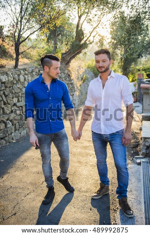 Portrait of handsome young gay couple holding hands while standing on sidewalk in sunny park