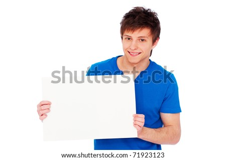 portrait of handsome young man holding blank billboard over white background - stock photo