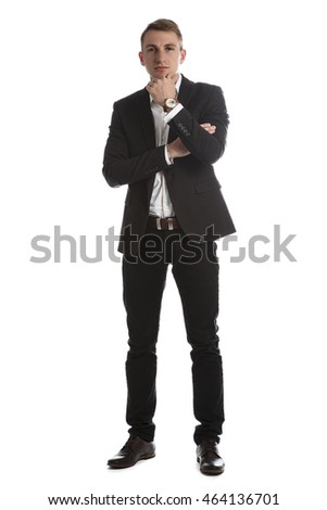 Portrait of handsome young man in a suit jacket in Studio on white isolated background