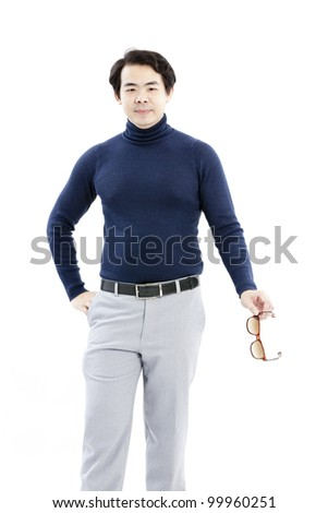Portrait of handsome young man in casual clothes standing over white background - stock photo