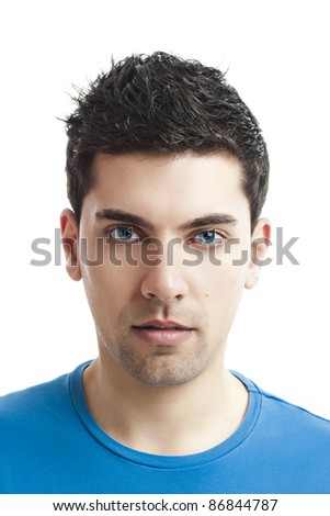 Portrait of handsome young man, isolated on white background - stock photo