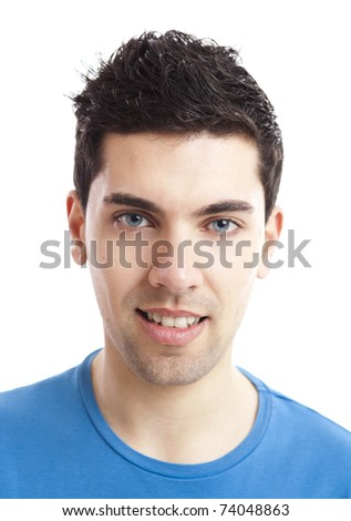 Portrait of handsome young man smiling, isolated on white background - stock photo