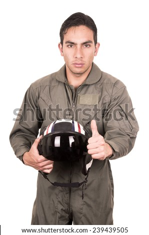 portrait of handsome young pilot wearing green uniform holding helmet isolated on white - stock photo