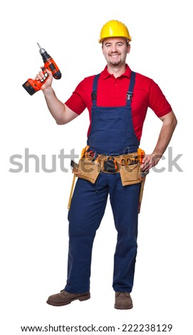 portrait of handyman with electric drill isolated on white - stock photo