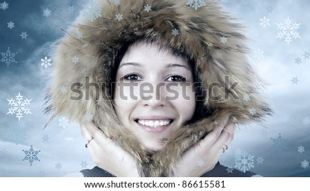 Portrait of happiness young woman in winter hat