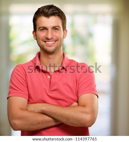 Portrait Of Happy A Man, Indoor - stock photo