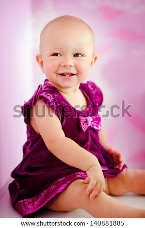 portrait of happy adorable baby girl - stock photo