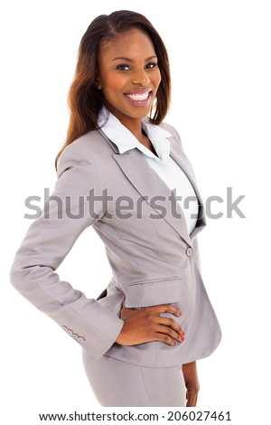 portrait of happy african businesswoman isolated on white background - stock photo