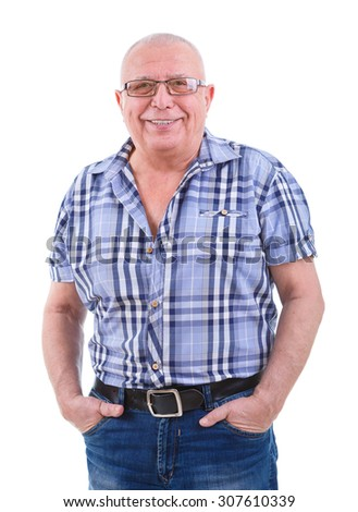 Portrait of happy and smile with white teeth 75 years old senior man in jeans, shirt, glasses, hands in pockets. Positive emotion facial expression feeling. Isolated white background.  - stock photo