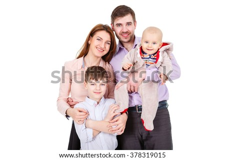 Portrait of  Happy and smiles Family with children and infant on a white background isolated - stock photo