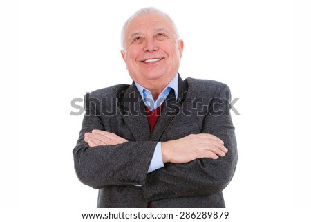 Portrait of happy and white teeth smile senior old teacher man, dressed in suit, shirt and marsala jacket, isolated on white background. Human emotions and facial expressions. Education concept - stock photo