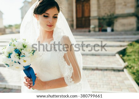 portrait of happy and young bride