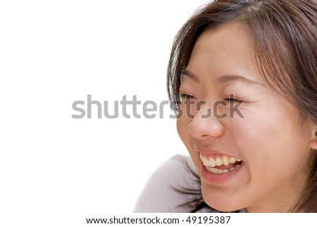Portrait of happy Asian beauty smile expression on white background. - stock photo