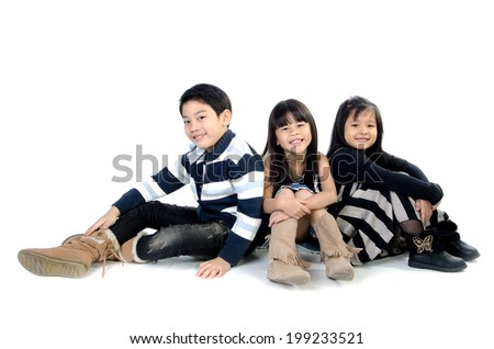 portrait of happy asian boy and girl ,winter style  isolate on white background . - stock photo