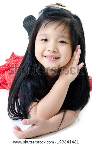 Portrait of happy asian cute Girl on white background .