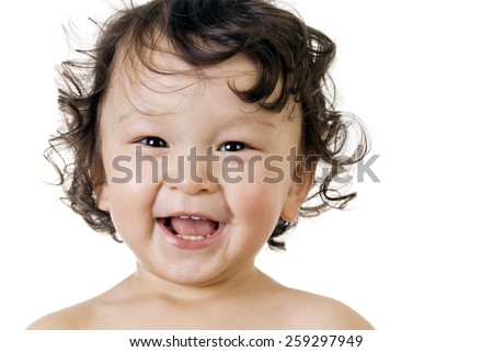 Portrait of happy baby,isolated on a white background. - stock photo