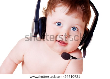 portrait of happy baby on white background - stock photo