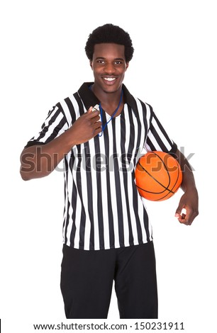 Portrait Of Happy Basketball Referee Isolated Over White Background - stock photo