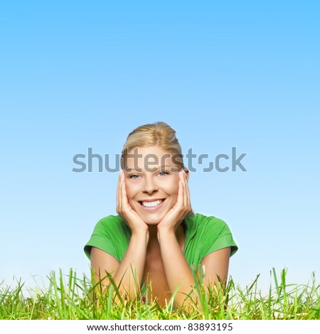 Portrait of happy beautiful blonde woman . - stock photo