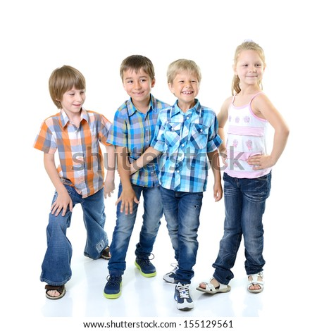 Portrait of happy beautiful children having fun together, over white - stock photo