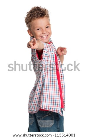 Portrait of happy boy pointing at you isolated on white background - stock photo