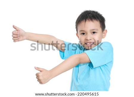 Portrait of happy boy with thumbs up isolated - stock photo