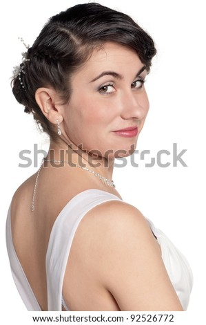 Portrait of happy bride on white background