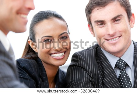 Portrait of happy business people isolated on a white background - stock photo