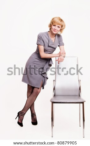 Portrait of happy business woman over white