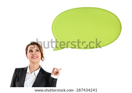 Portrait of happy business woman thinking and looking up with blank green bubble speech isolated on white. Have an idea concept - stock photo
